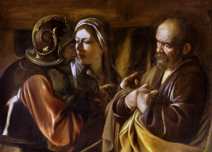 The Denial of St. Peter by Caravaggio (Restored Traditions)