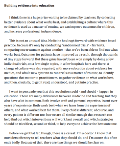 Screenshot of an article - Building evidence into education