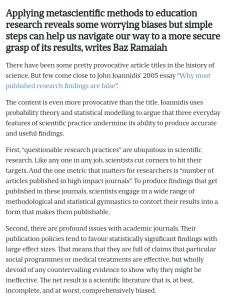 Screenshot of an article about applying metascientific methods to education research