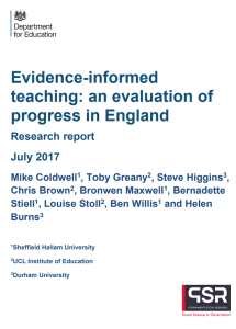 Screenshot of a research report cover - Evidence-informed teaching