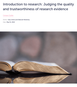 Screenshot of an article about judging the quality and trustworthiness of research evidence