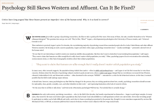 Screenshot of an article - Psychology still skews western and affluent