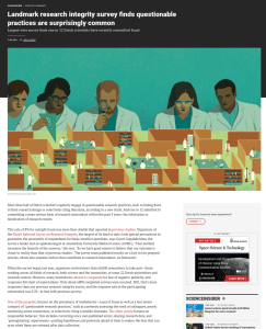 Screenshot of article on research integrity