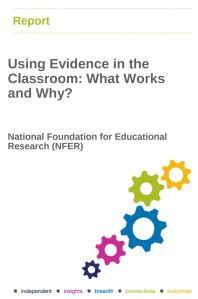 Screenshot of a research report cover - Using Evidence in the Classroom