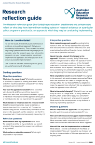 Screenshot of research reflection guide
