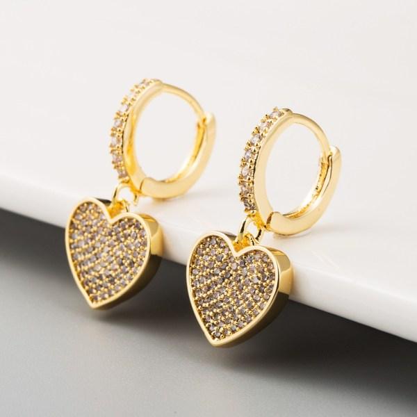 Pendientes corazón con circonitas (baño de oro)