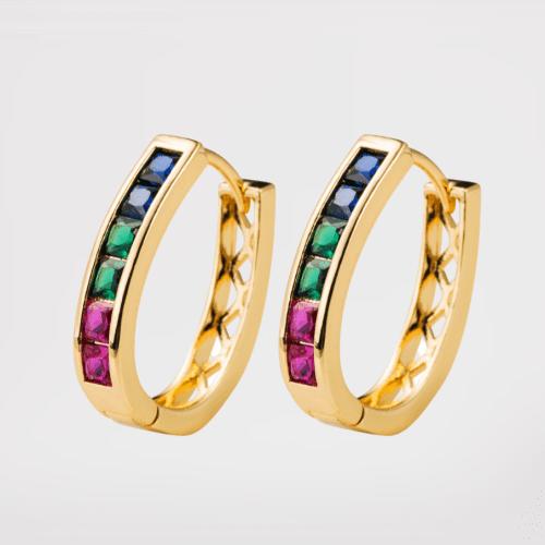 Pendientes rainbow circonitas 2 (baño de oro)