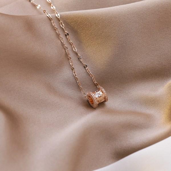 Colgante cilindro circonitas (oro rosa)