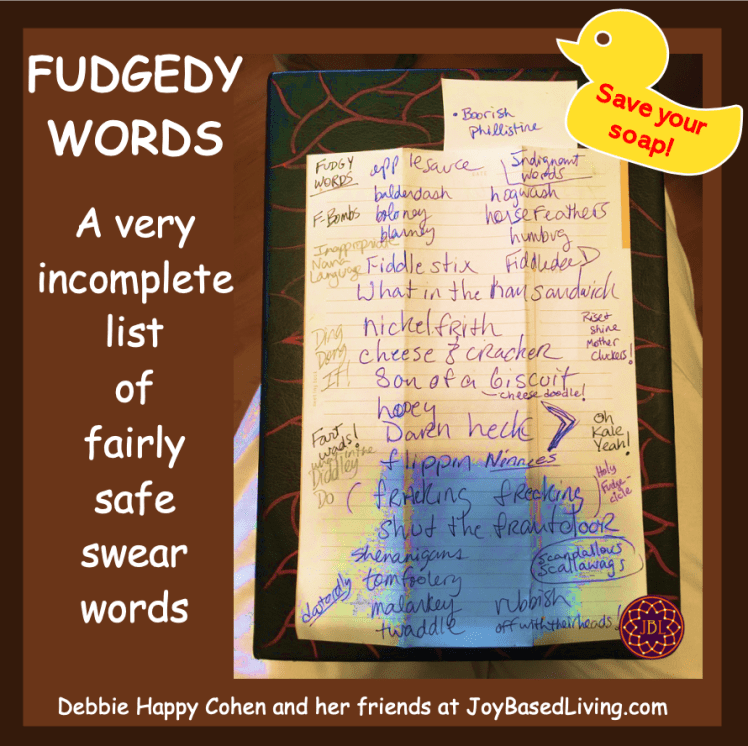 Fudgey word list with rubber duckie save your soap