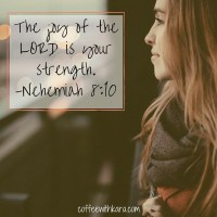 When the waves of heartache crash around us, we don't have to be strong, because He is. God is our strength. The joy he gives us is our strength.