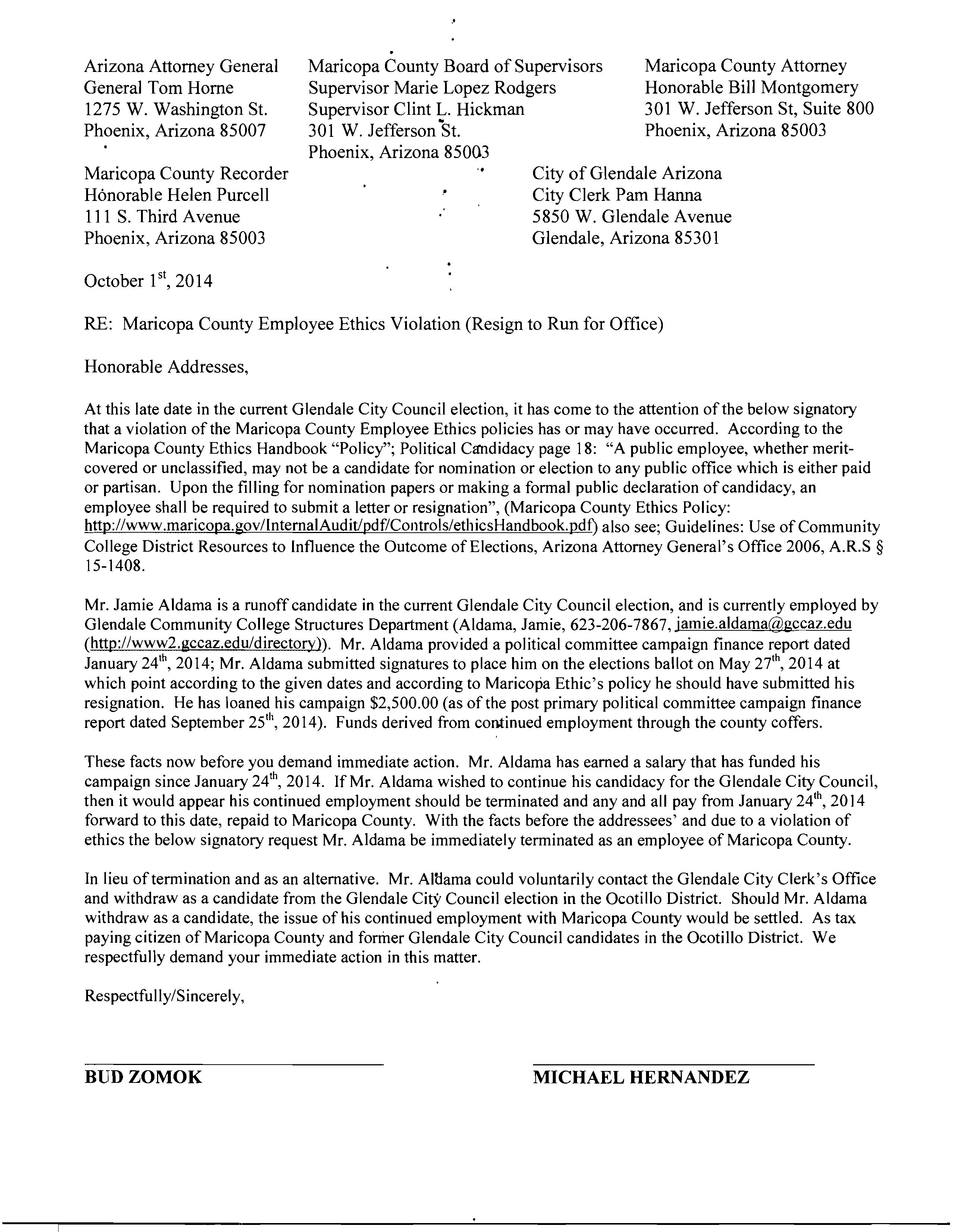 Letter To City Council Sample