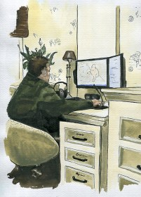 Ramon sitting behind desk