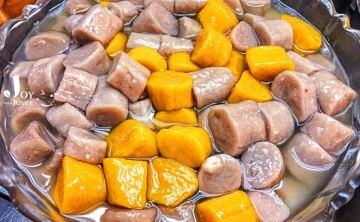 毛巾頭老闆的超大「九份芋圓」♥ 刀削冰(台北臨江夜市。通化街)♥ JoyceWu。手機小食記
