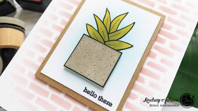 A simple handmade hello greeting card. This card was made with the new Potted Succulent Digital Stamp Set from Joy Clair Stamps.
