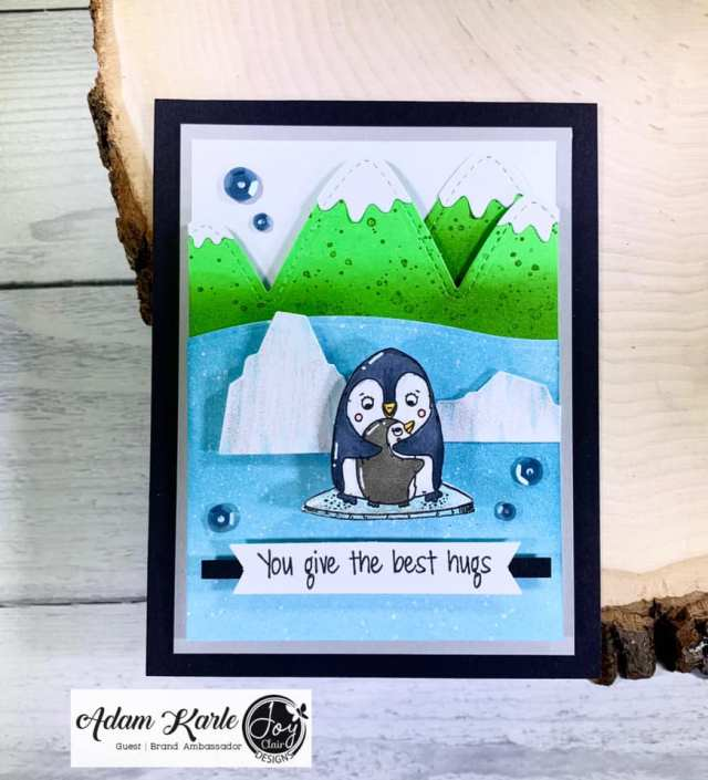 Animal stamped card with pinguins from the stamp set mother's day love.