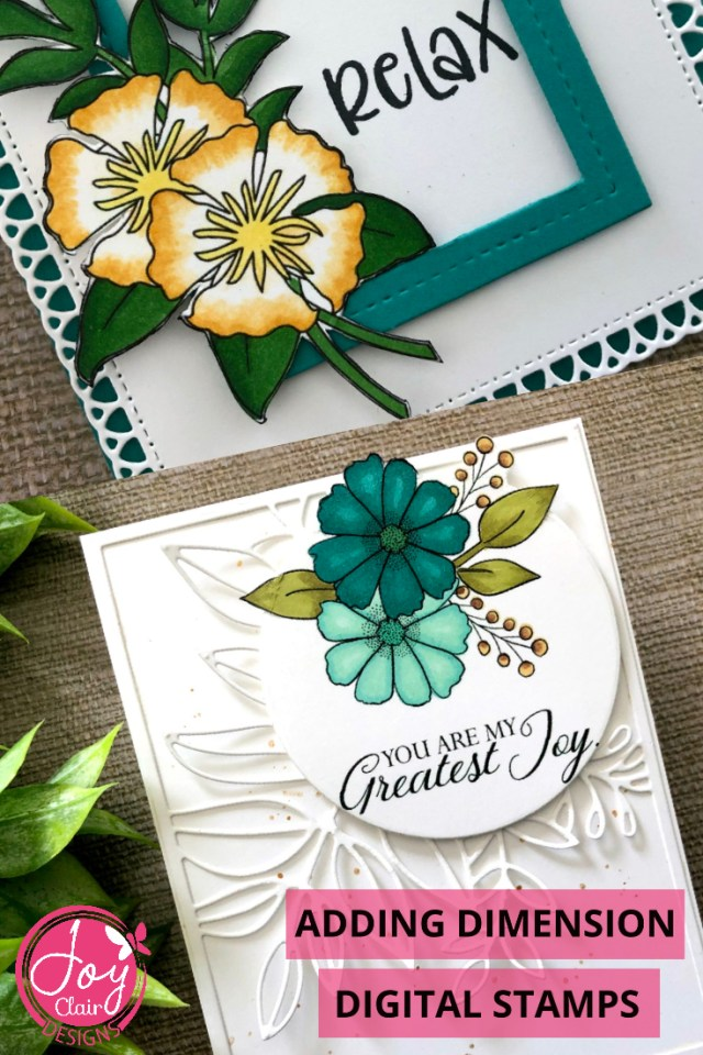 Close up of two cards created with digital flowers and die cuts to add dimension.