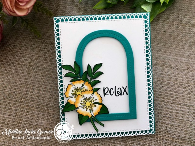 Card created with die cuts and digital colored flowers.