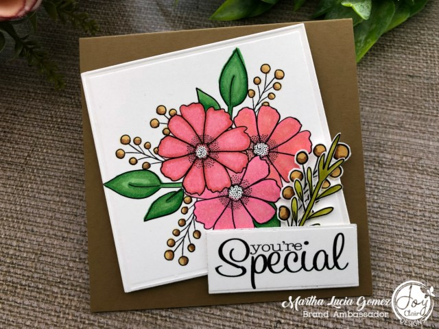 easy friendship card created with flowers and die cuts