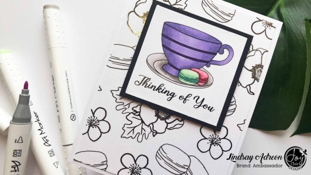 The finished handmade thinking of you card made with the Cup of Joy Digital Stamp Set from Joy Clair Stamps