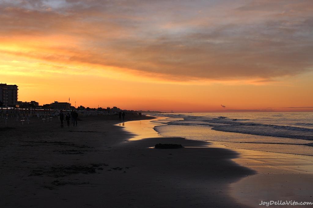Sunset at the beach near Rimini