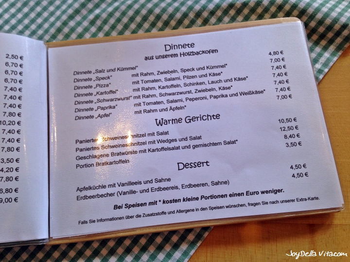 The Menu at Besenwirtschaft Osswald Tettnang