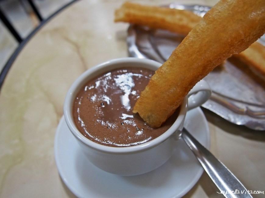 Dipping the Churro into the Chocolate, for Breakfast at Casa Aranda in Malaga