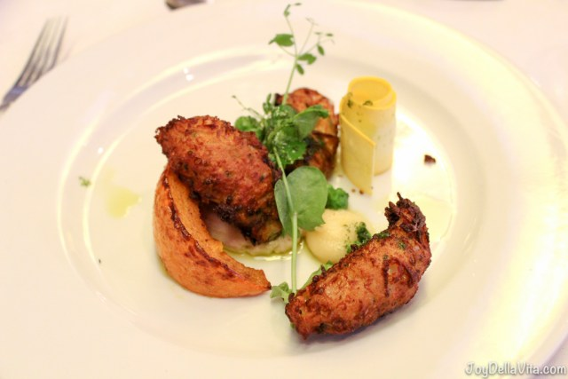 2nd course - fried zucchini croquettes with sweet potato (SO good!)