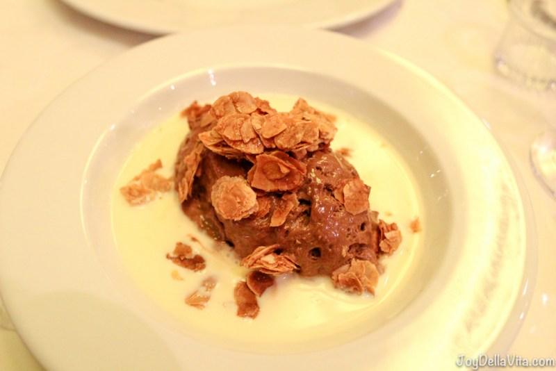 chocolate mousse and vanilla sauce (amazingly good)