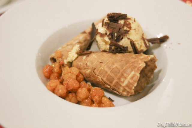 Cloudberry ice-cream with a corn and cloudberries in syrup with chocolate SCANDIC Bryggen Honningsvag NorthCape Norway
