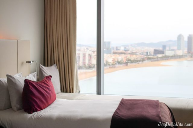 Hotel Bed and View from W Barcelona, Barceloneta Beach