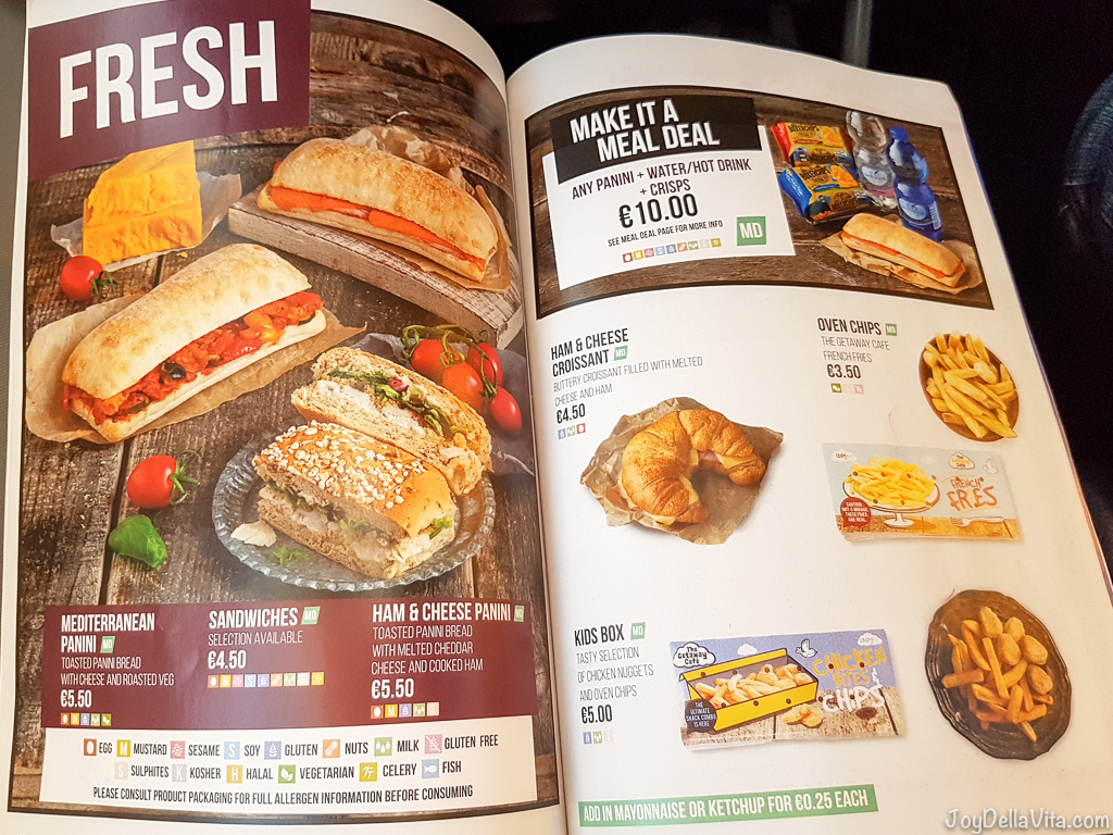 RyanAir Fresh Snacks & Food RyanAir In-Flight Menu 2017 Prices JoyDellaVita