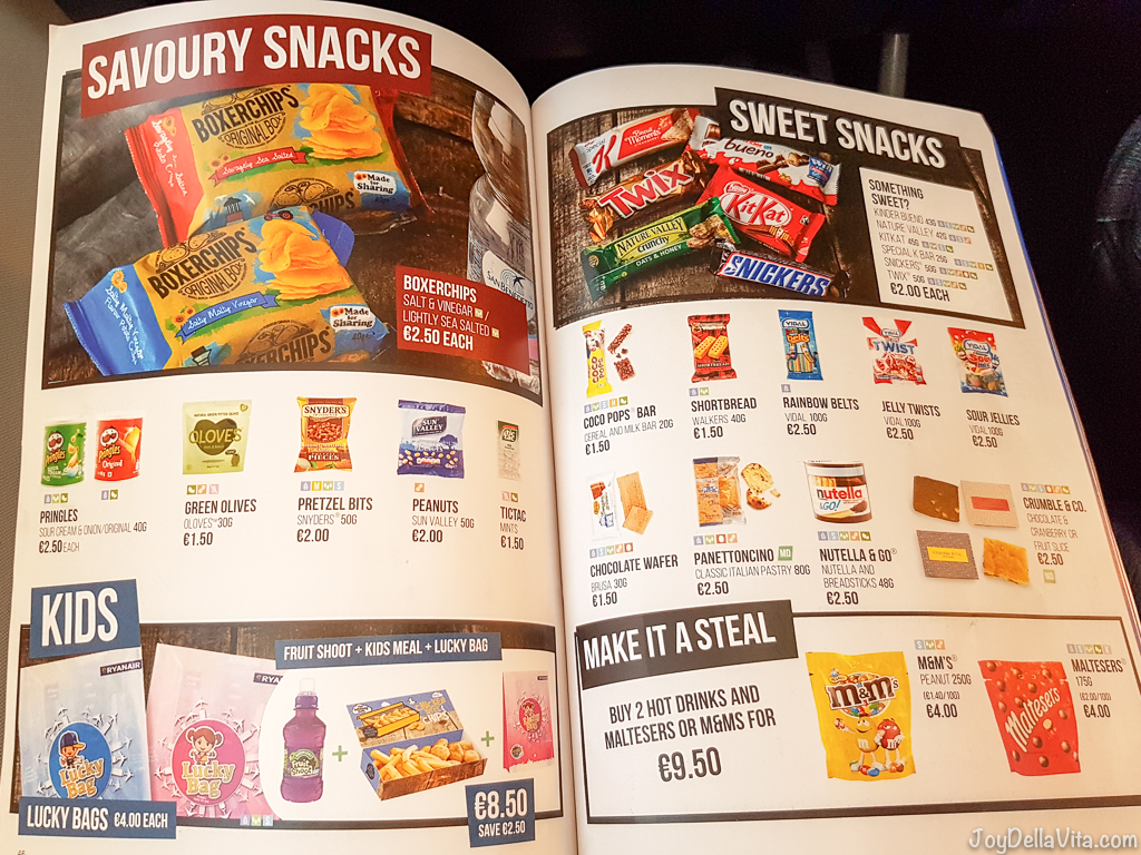 Savoury Snacks & Sweet Snacks RyanAir In-Flight Menu 2017 Prices JoyDellaVita