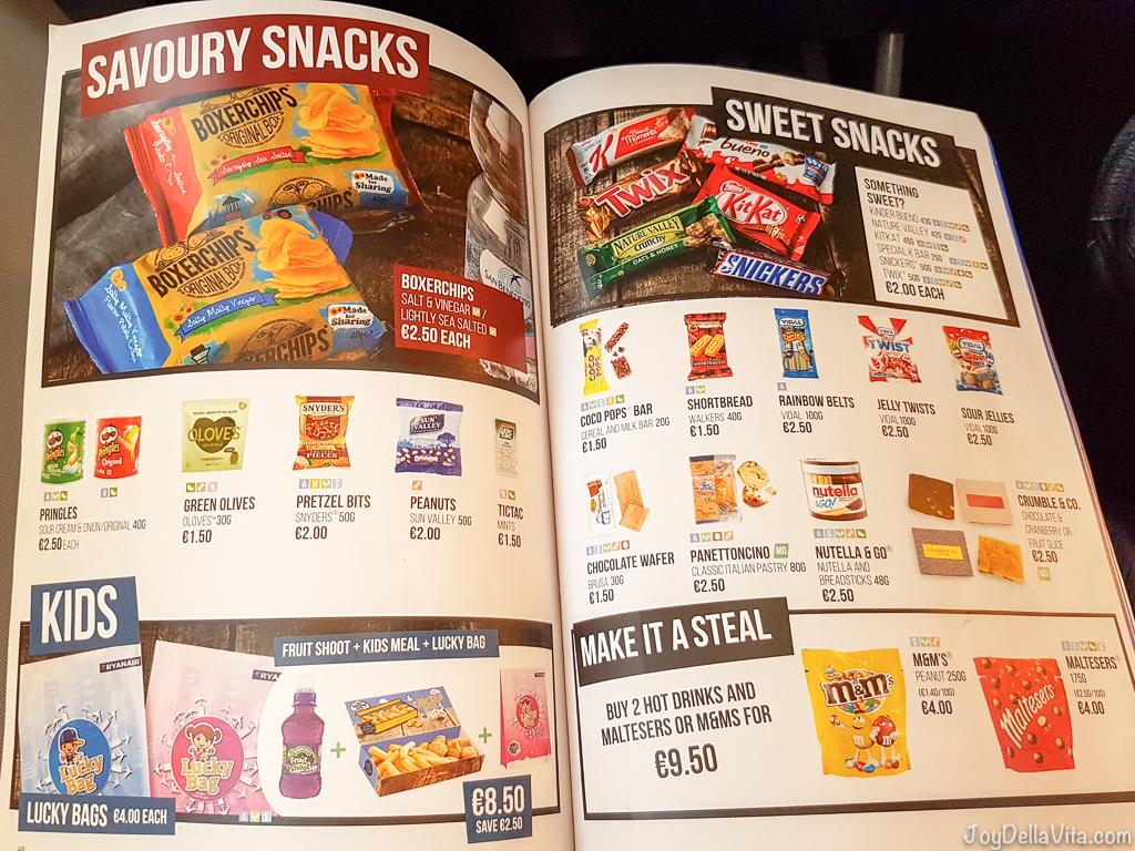 Ryanair Inflight Food Menu