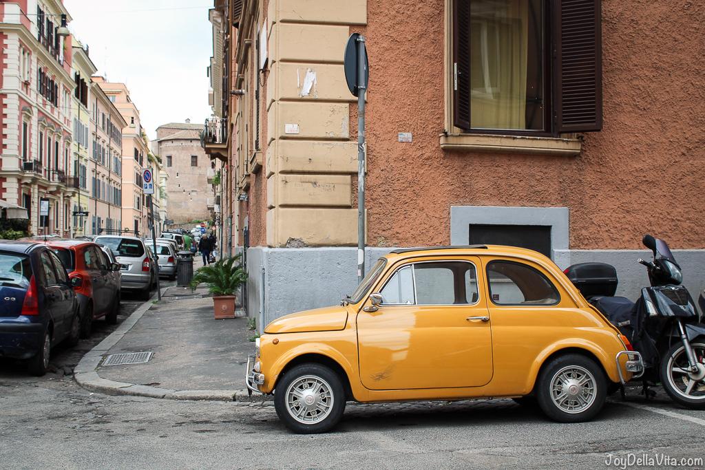 yellow vintage Fiat 500 Rome joyDellaVita