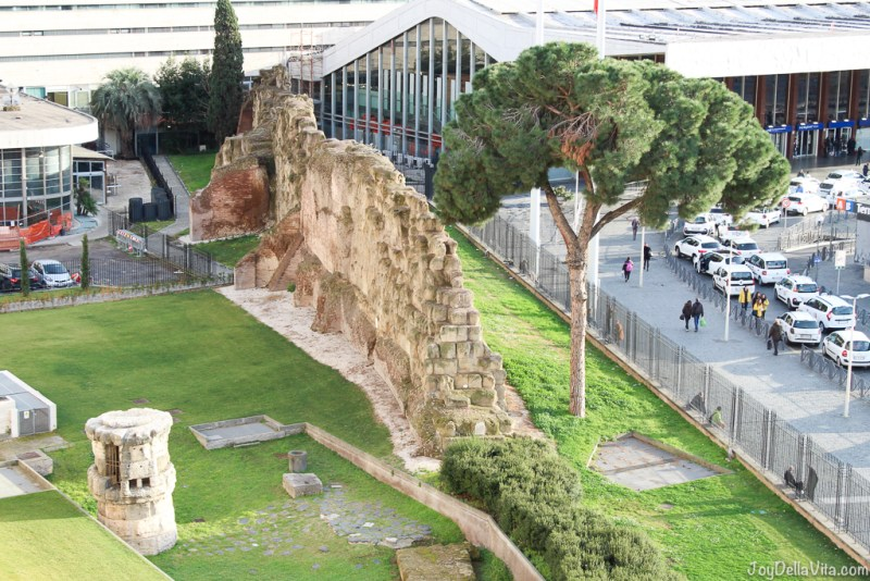 ancient remains of the Mura Serviane/ Servian Wall in the Hotel garden nh Collection Hotel Cinquecento Rome JoyDellaVita