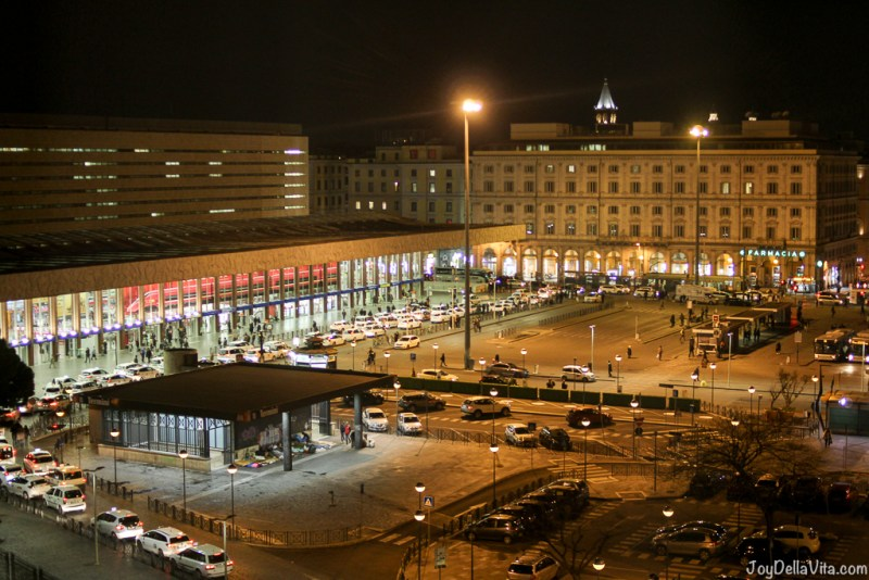 Roma Termini Station at night nh Collection Hotel Cinquecento Rome JoyDellaVita