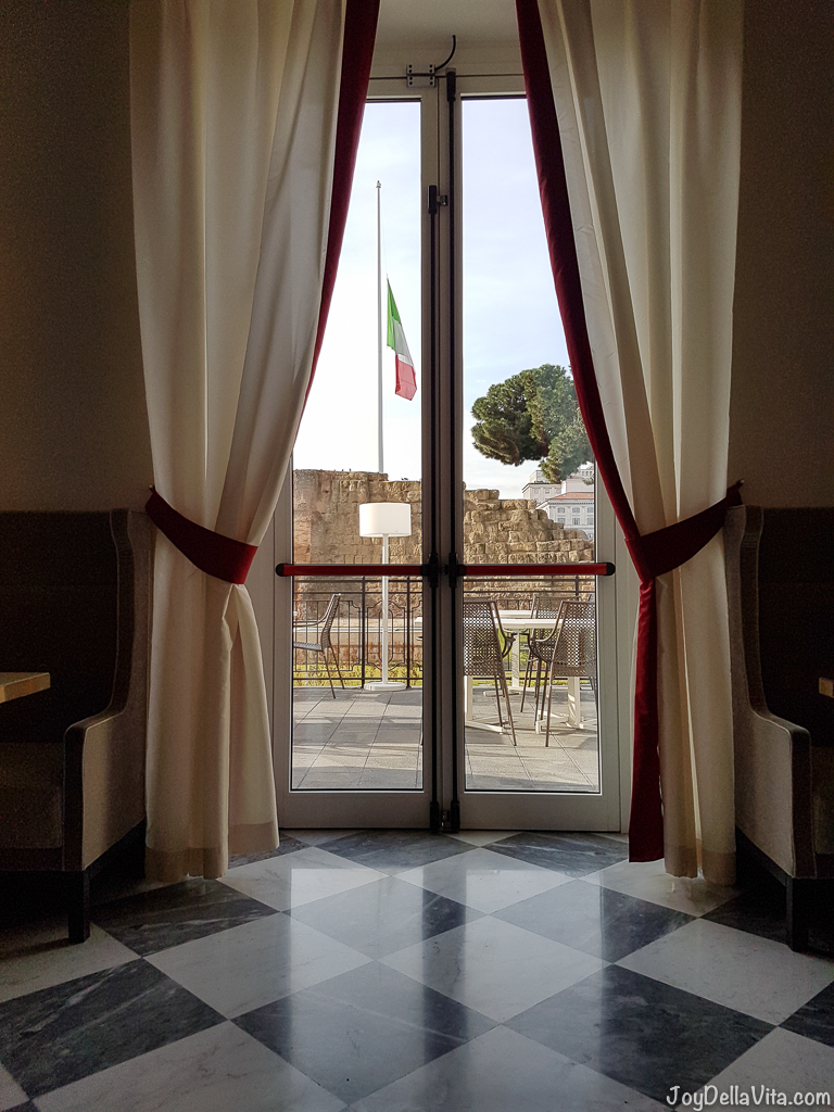 view from the breakfast room on the Servian Wall nh Collection Hotel Cinquecento Rome JoyDellaVita