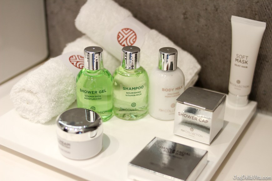 Beauty Products in the Bathroom at nh Collection Hotel Cinquecento Rome