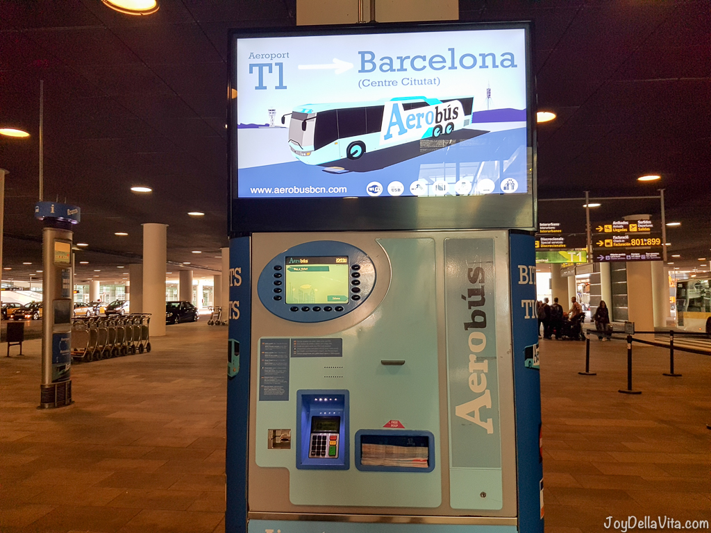 Aerobus Barcelona Ticket Machine at Barcelona Airport