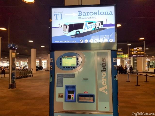 Aerobus Barcelona Ticket Machine at Barcelona Airport