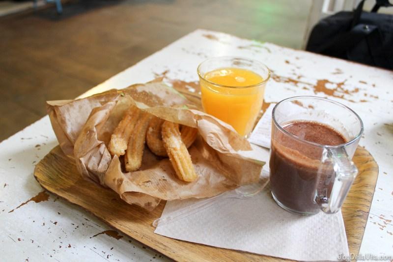 Chocolate con Churros and Orange Juice