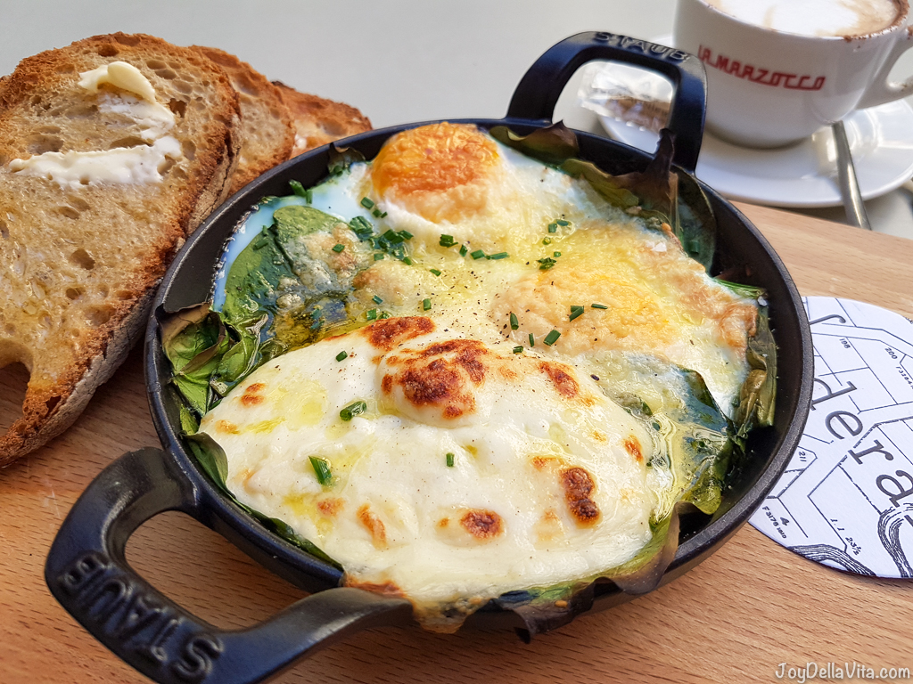 oven baked eggs spinach parmesan and toast federal barcelona