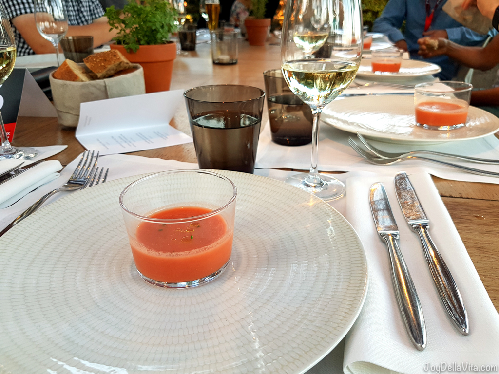 small glass of Gazpacho -  Bestial Restaurant Club Barcelona Beach -  JoyDellaVita.com