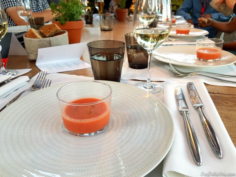 small glass of Gazpacho -  Bestial Restaurant Club Barcelona Beach -  JoyDellaVita.com