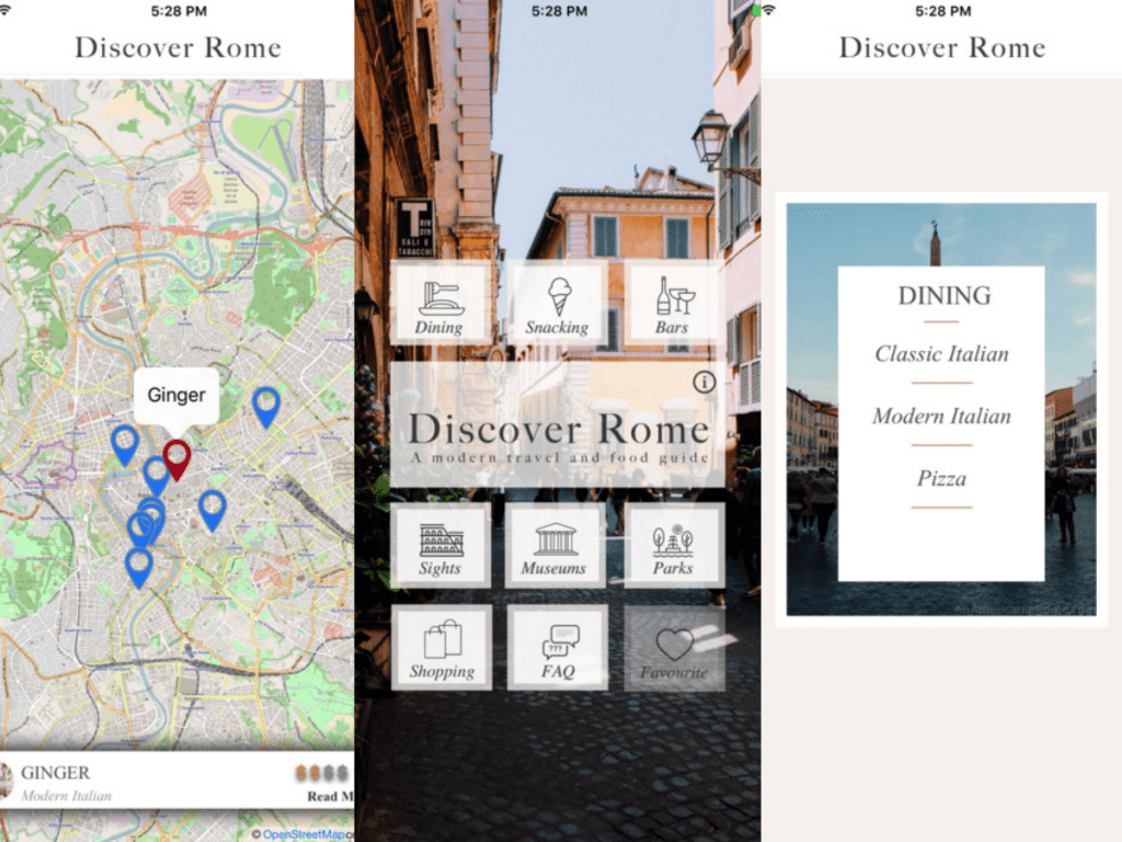 Smartphone App Discover Rome: A modern travel and food guide