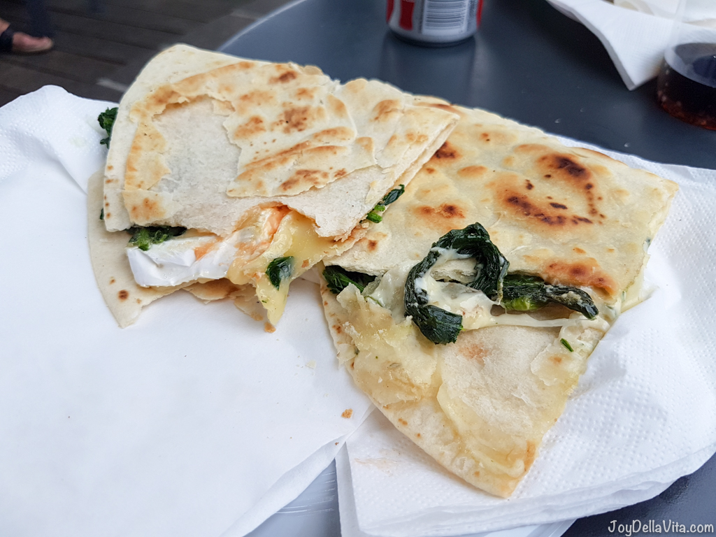 Bottom right: Piadina Vegetale (Spinach with Fontina cheese and mushroom sauce) and top left: Piadina Esmeralda (Spinach with Brie cheese and cocktail sauce)