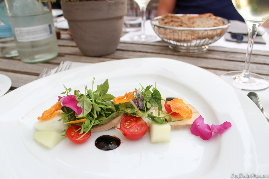 Starter: Mozzarella salad with smoked tofu and melon --  Organic Restaurant Castle Wartegg Lake Constance St Gallen - JoyDellaVita.com