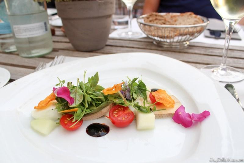 Starter: Mozzarella salad with smoked tofu and melon -- Organic Restaurant Castle Wartegg Lake Constance St Gallen - JoyDellaVita.com