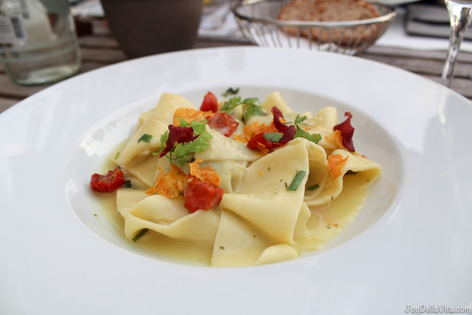 vegetarian main dish: homemade Pappardelle with dried tomatoes and Castle-Basil -- Organic Restaurant Castle Wartegg Lake Constance St Gallen - JoyDellaVita.com