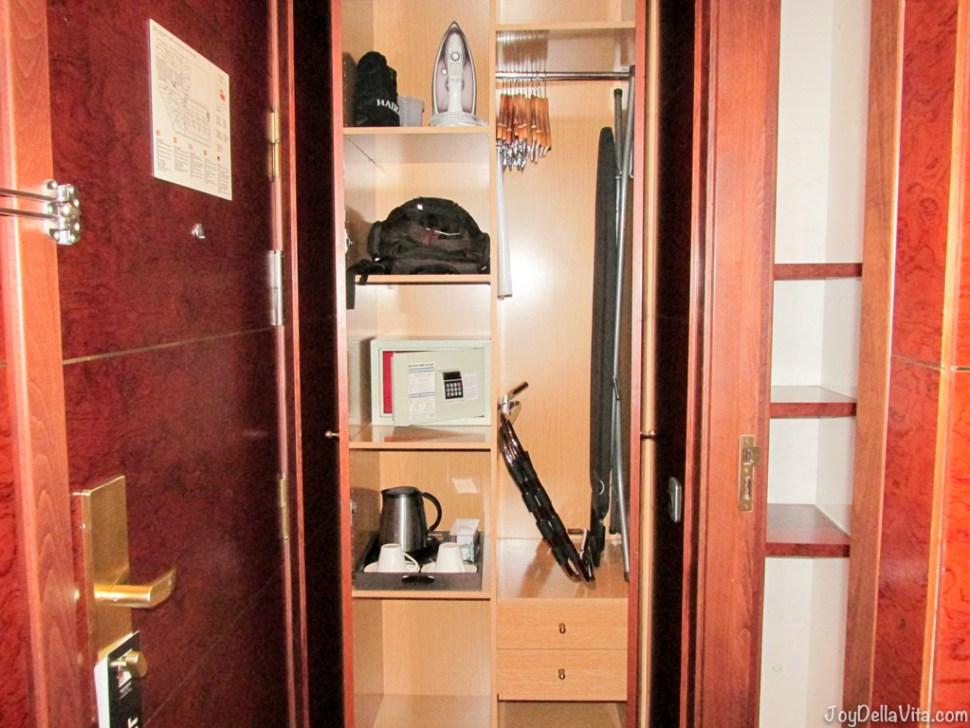 closet with kettle, safe, ironing board and more at Alexandra Hotel Barcelona Doubletree Hilton Travel Blog JoyDellaVita.com